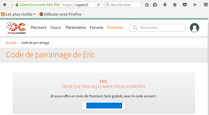 offre parrainage gratuit de openclassroom merci eric. Black Bedroom Furniture Sets. Home Design Ideas